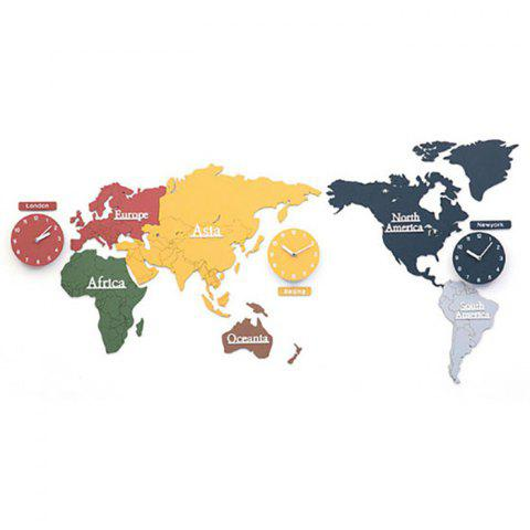 2019 Creative World Map Wall Clock Decoration Painting For Frameless