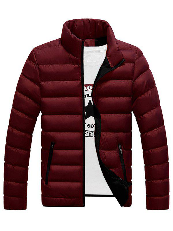 Men Warm Jacket Cotton Winter Padded Coat Classic Style - RED WINE 4XL