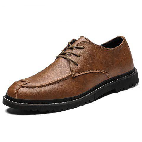 Men Casual Shoes Flat Leather Lace-up - BROWN EU 42