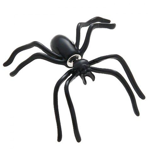 Personality Double-sided Halloween Jewelry Black Spider Earring - BLACK
