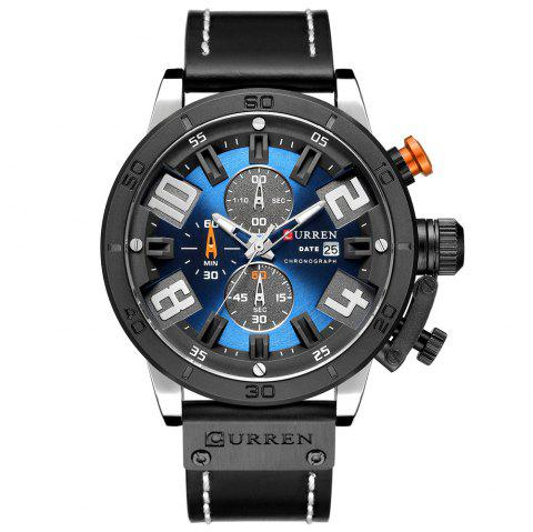 CURREN Montre Carrian Etanche Ronde - Bleu