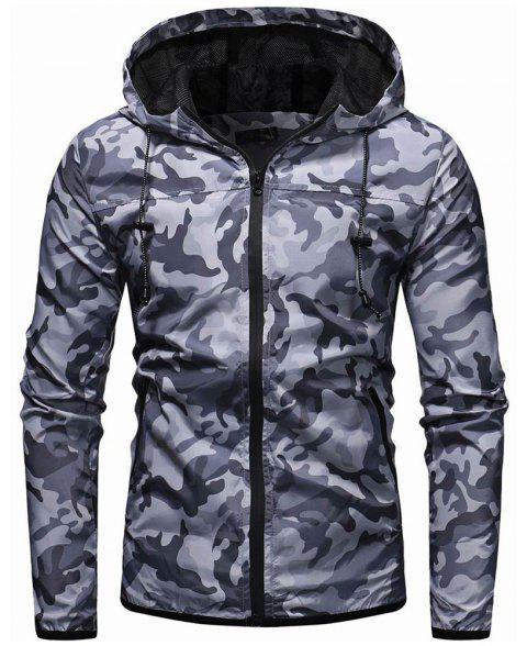Men's Camouflage Fashion Casual Jacket Hooded Jacket - LIGHT GRAY XL
