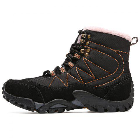 Men's Boots Autumn And Winter New Leather High-top Shoes - BLACK EU 43