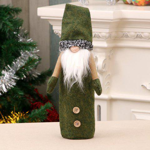 357 Christmas Decorations Champagne Embroidered Wine Bottle Cover - FERN GREEN