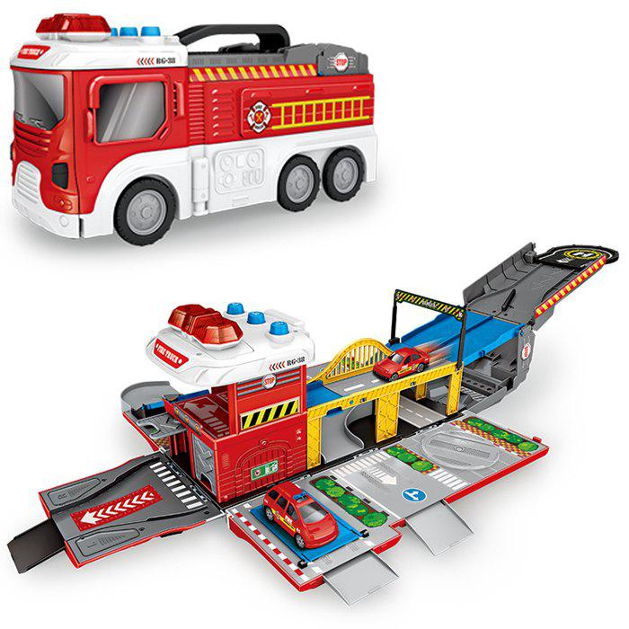 Sound Light Deformation Fire Storage Car Educational Toys - LAVA RED