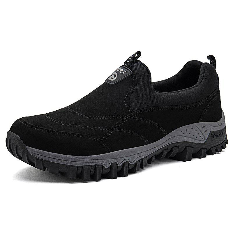 Men Leisure Sneakers Outdoor Anti-slip Slip-on Hiking Shoes - BLACK EU 42