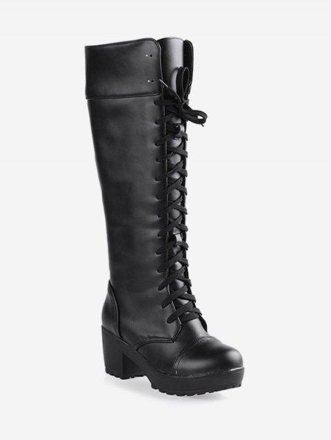 Plus Size Lacing Chunky Heel Knee High Boots - BLACK EU 42