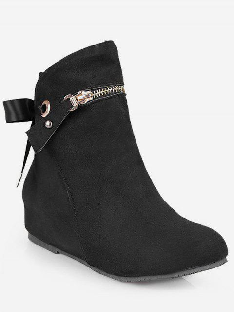 Plus Size Tie Back Increased Internal Ankle Boots - BLACK EU 41