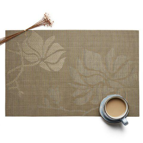 Insulation Environmental Non-slip European Jacquard Square Woven Teslin PVC Placemat - WOOD