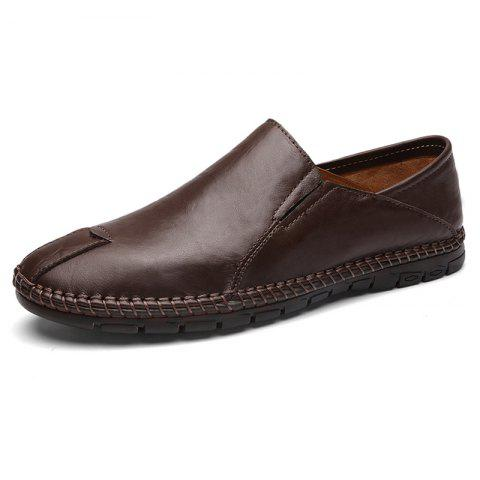 8080 Men's One-legged Loafers Oxford Shoes - COFFEE EU 40