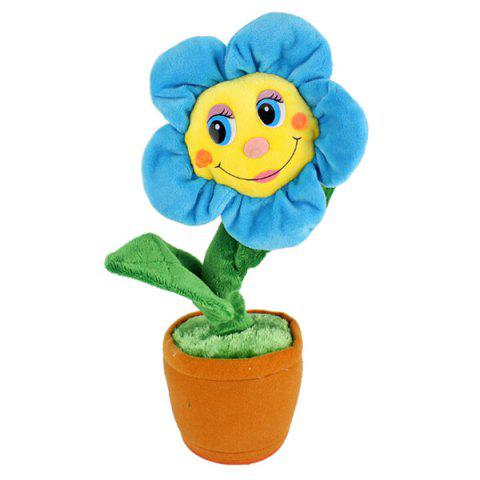 Creative Plush Toys Will Sing The Sun Flower Dolls Will Dance Electric Toys - DEEP SKY BLUE