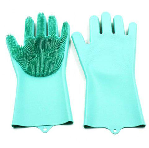 Magic Silicone Glove High Temperature Wash Glove 2pcs - LIGHT SEA GREEN