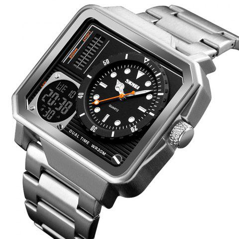Skmei 1392 Male Multi-function Outdoor Double Display Business Big Dial Waterproof Electronic Watch - SILVER