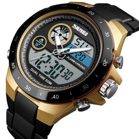 Skmei 1429 Male Outdoor Multi-function Dual Display Chronograph Stopwatch Electronic Watch - GOLD