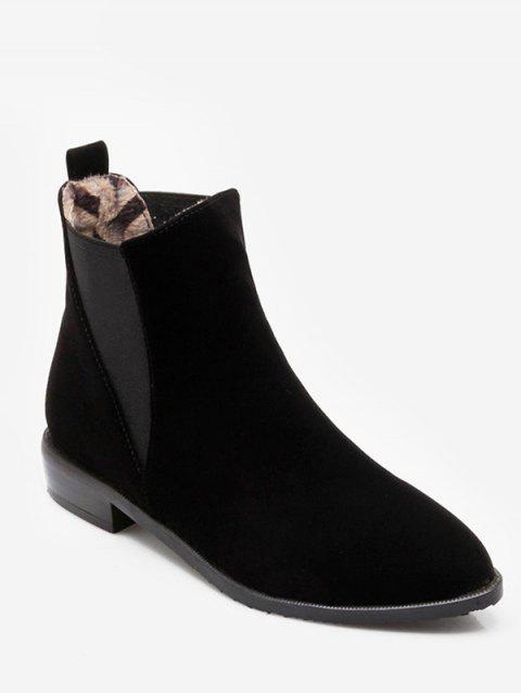 Plus Size Pointed Toe Ankle Chelsea Boots - BLACK EU 41