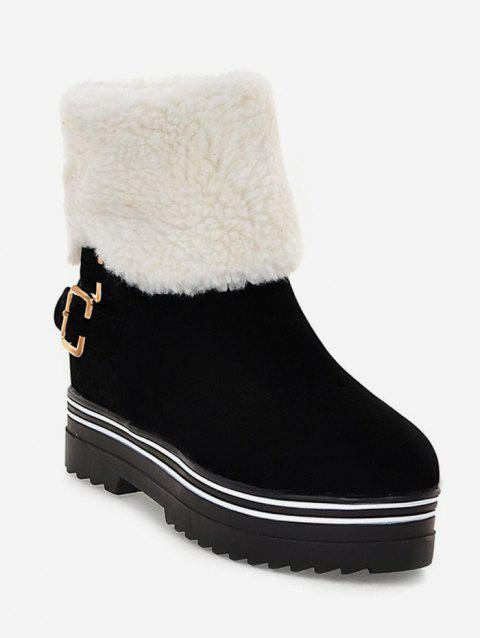 Plus Size Buckle Faux Fur Short Boots - BLACK EU 43