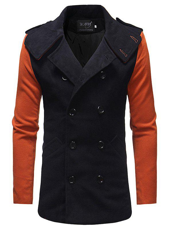 Men's Slim Trench Fashion Contrast Color Stitching Double-breasted Double-sided Coat - BLACK M
