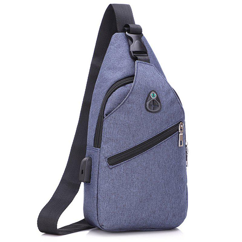 Simple Men Chest Bag European and American Style Tide Shoulder Messenger Bags - SLATE BLUE