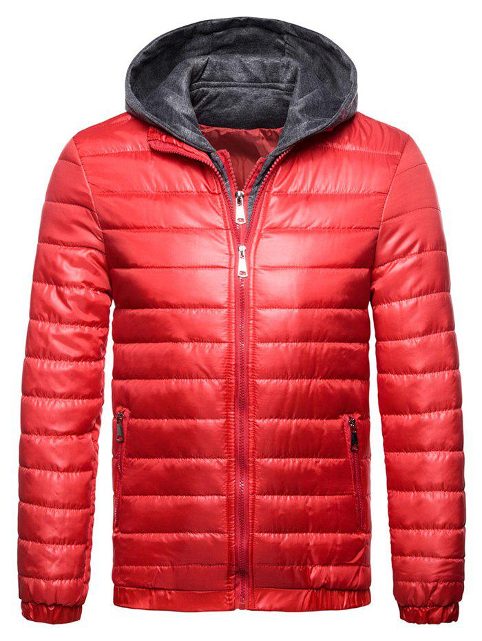 Men Warm Parka Comfortable Solid Color Hooded - RED XL