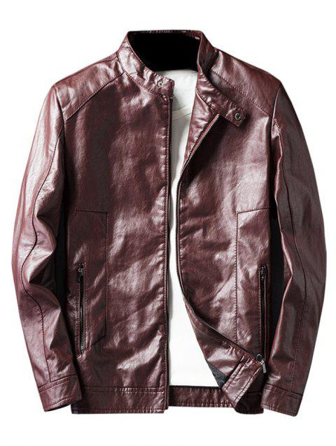Men Collar Thin Leather Jacket for Autumn and Winter - RED WINE 2XL
