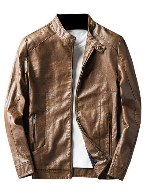 Men Collar Thin Leather Jacket for Autumn and Winter - CADETBLUE M