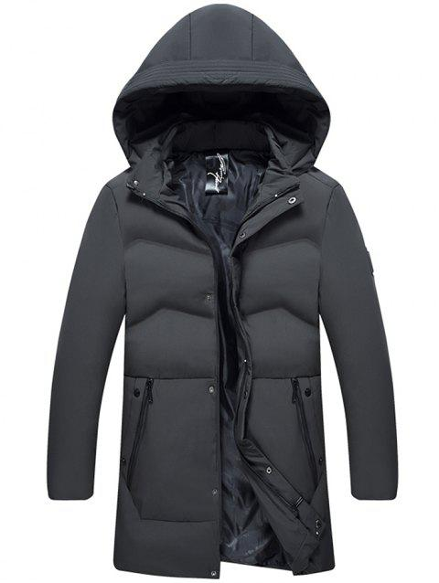 Winter Hooded Men Thick Warm White Duck Down Jacket - GRAY 2XL