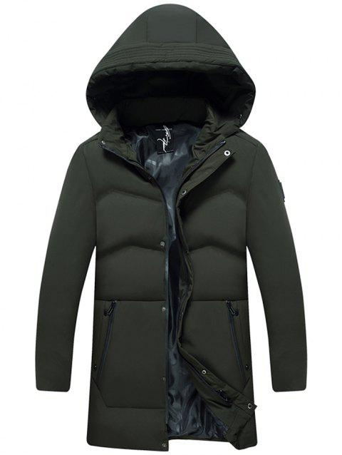 Winter Hooded Men Thick Warm White Duck Down Jacket - ARMY GREEN L