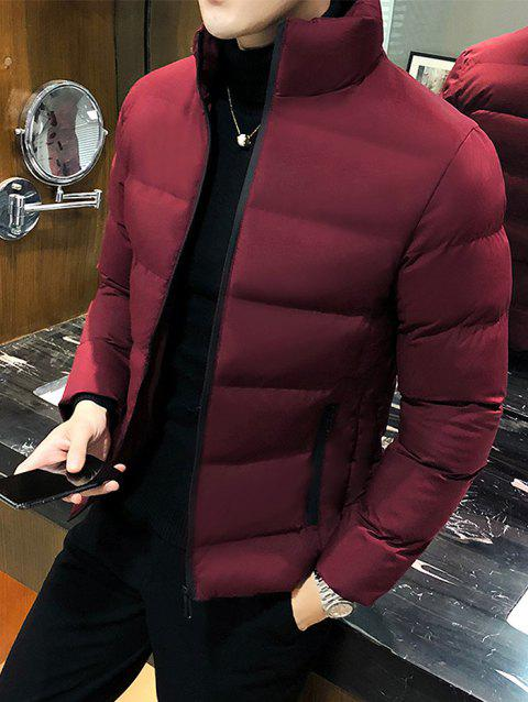 Men White Duck Down Clothes Hooded Down Jacket Winter Coat - RED WINE XL