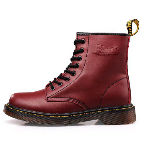 Fashion Solid Color Durable Martin Boots - RED WINE EU 37