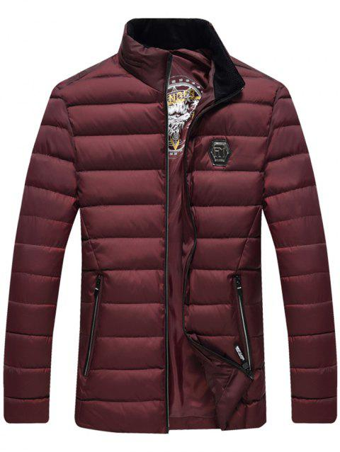 Middle-aged Men Cotton Jacket Collar Parka - RED WINE 3XL