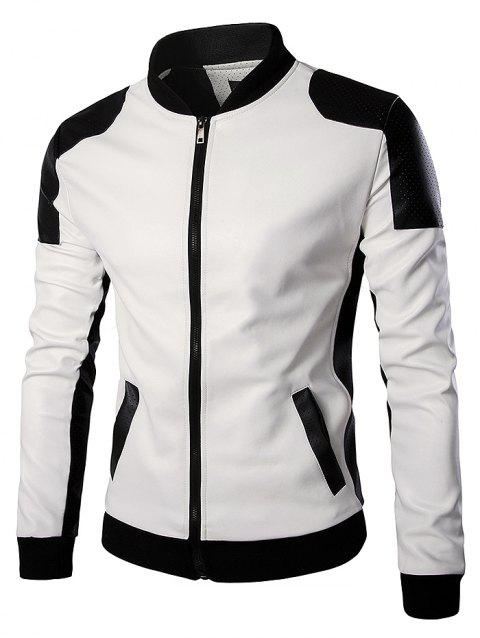 Men Stylish Jacket Stand Collar Long Sleeve Classic - WHITE 3XL