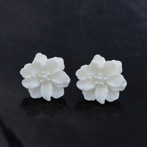 G962 Simple Personality Three-dimensional Petals White Sweet Flowers Pearl Earrings - WHITE