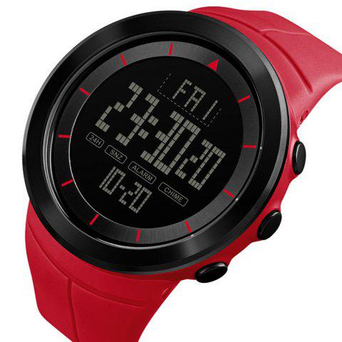 Skmei 1402 Male Outdoor Sports Electronic Watch Countdown Fashion Big Dial - RED
