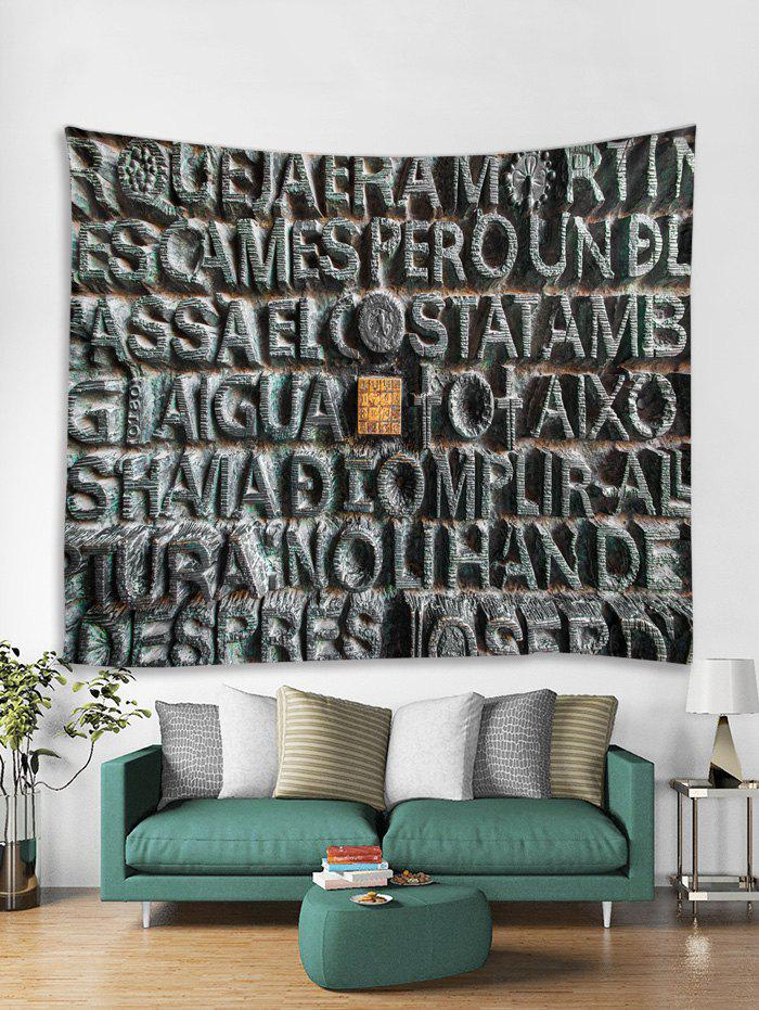 Stone Letters Print Tapestry Wall Hanging Decoration - multicolor W91 X L71 INCH