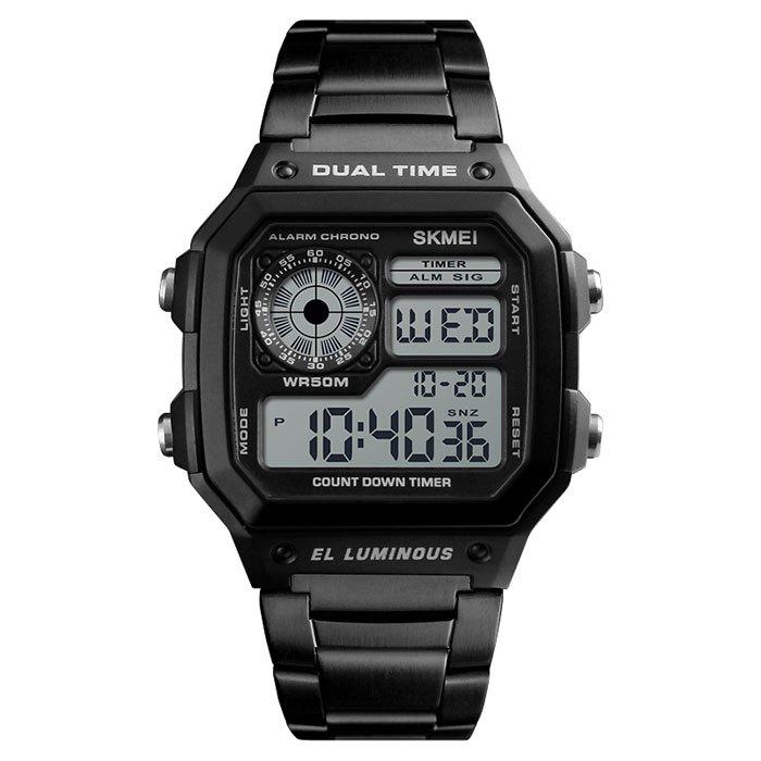 Skmei 1335 Male Business Table Outdoor Sports Personality Square Digital Display Electric Watch - BLACK