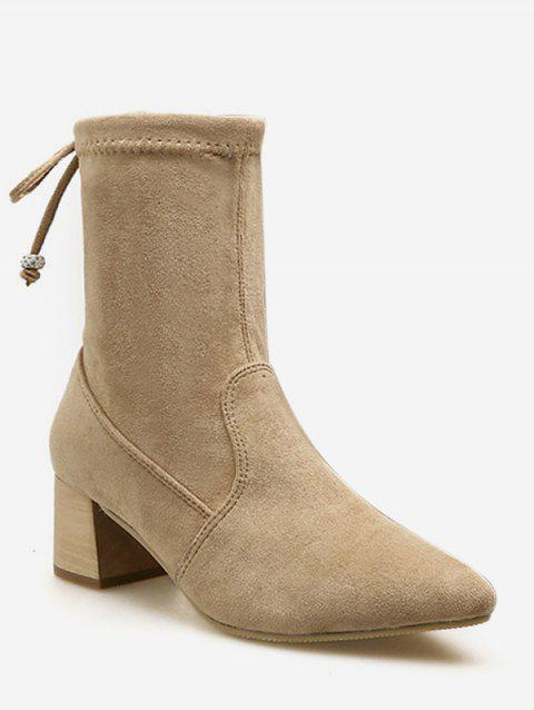 Tie Back Suede Chunky Heel Short Boots - APRICOT EU 36