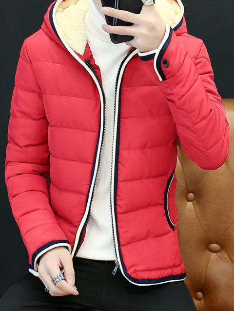 Couple'S Warm Downs Jacket Casual Thick Cotton Hat Can Be Down Parka Coat  Outdoor Sport Hooded - RED M
