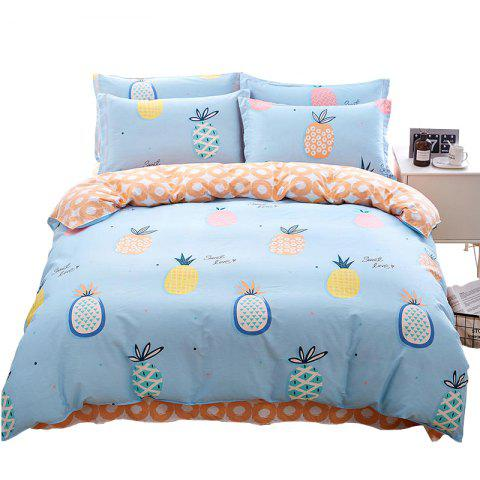 Home Textile Combed Cotton Four-piece 40 High-rise High-density Comfort Bed Kit Pineapple Diary Blue - multicolor A