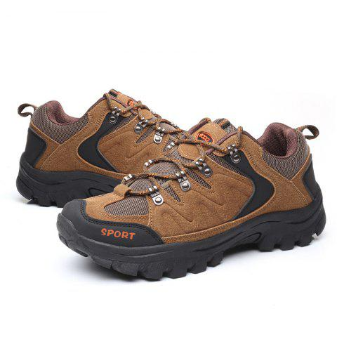 Men Durable Sneakers Outdoor Lace-up Anti-slip - LIGHT BROWN EU 43