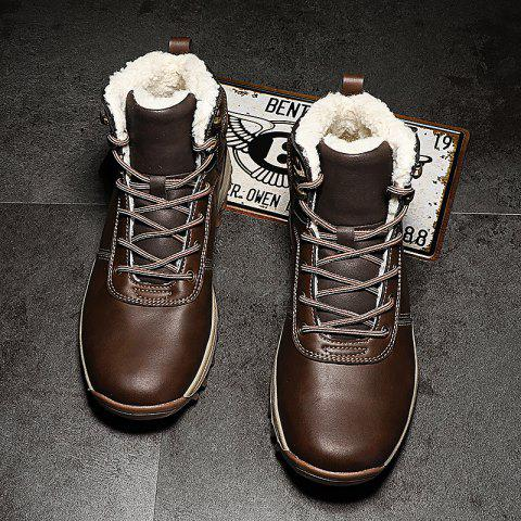 Men Winter Fashion Casual Leather Cotton-padded Shoes - DEEP BROWN EU 41