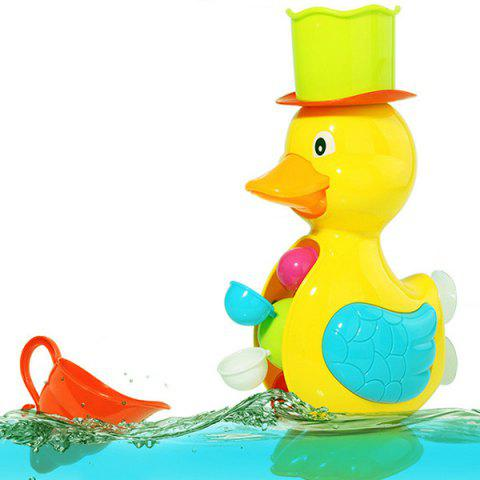 Kids Shower Bath Toys Cute Duck Waterwheel Dolphin Toys - YELLOW