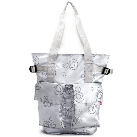 2 in 1 Shoulder Portable Fashion Multi-function Large Capacity Mother Bag - SILVER