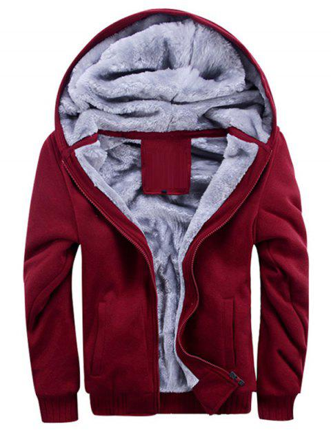 Men's Parka Thickening Plus Velvet Warm Hooded Cotton Clothing Large Size - RED WINE 3XL