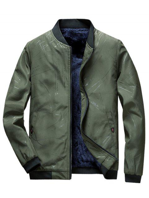 Men Winter Plus Velvet Striped Casual Jacket Youth Trend Jacket - ARMY GREEN 3XL