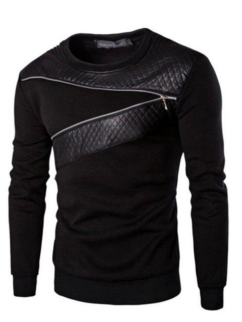 Men Autumn and Winter Fashion Round Neck Long-sleeved Sweatshirt Warm Clothe - BLACK 5XL