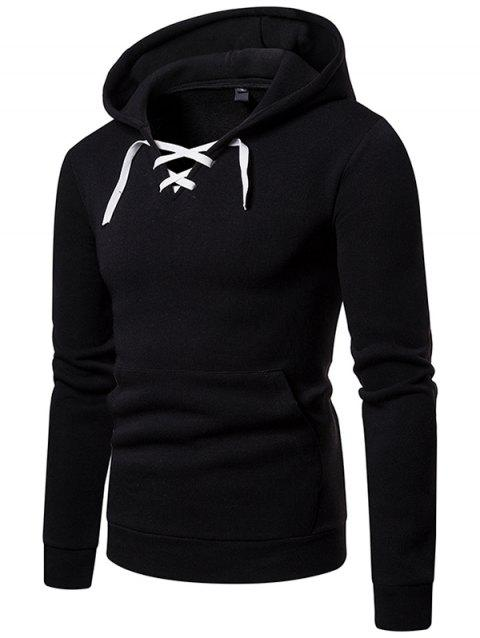 W09 Autumn and Winter Men Sweater Hooded Lace Threshold Sneakers Casual Hoodie Jacket - BLACK 2XL
