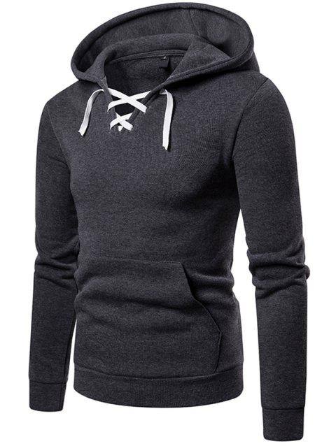 W09 Autumn and Winter Men Sweater Hooded Lace Threshold Sneakers Casual Hoodie Jacket - DARK GRAY 2XL