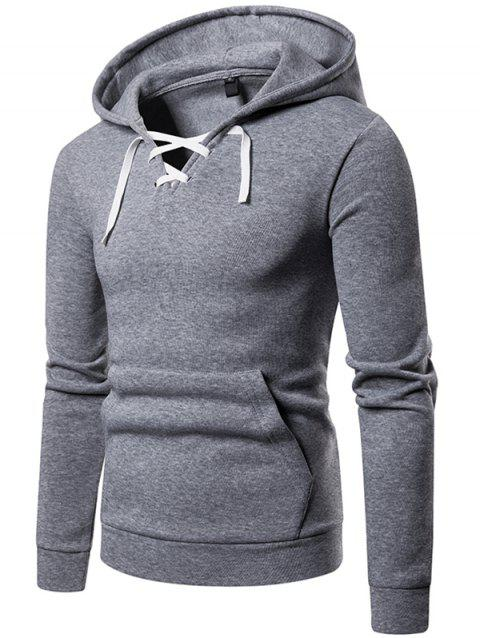 W09 Autumn and Winter Men Sweater Hooded Lace Threshold Sneakers Casual Hoodie Jacket - LIGHT GRAY 2XL