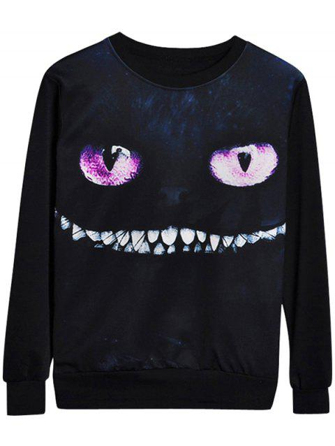 Chaolongjushang GH-2131 3D Digital Cat Eye Pattern Printing Sweatshirt - BLACK M
