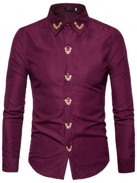 Men Embroidered Long Sleeve Casual Shirt - RED WINE S